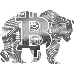 black and white bitcoin bear vector clipart clipart. Commercial use image # 416681