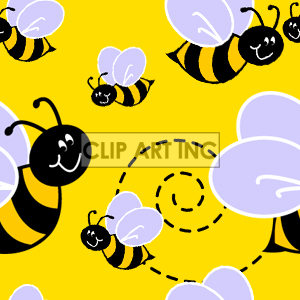 Tiled seamless bee background clipart. Commercial use image # 128193
