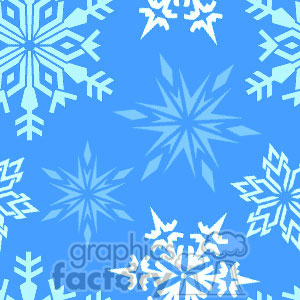 Tiled snowflake background on blue