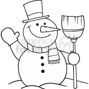 black and white snowman holding a broom clipart. Commercial use image # 377808