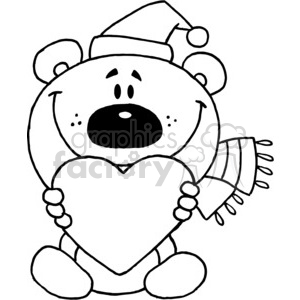 Santa Teddy Bear In Black and White Holding a Heart