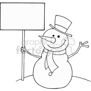 black and white snowman holding a sign clipart. Commercial use image # 377825