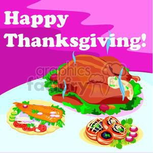 A Table With Thanksgiving Fixings and a Hot Thanksgiving Turkey  clipart. Commercial use image # 145396