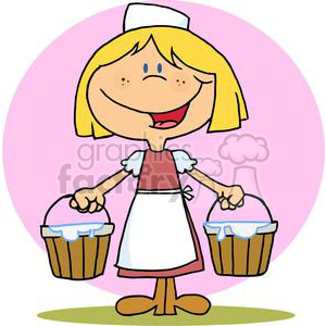 Maid A milking clipart. Royalty-free image # 377880