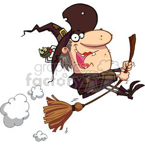 witch riding her broom with a spider in her hat  clipart. Commercial use image # 377899