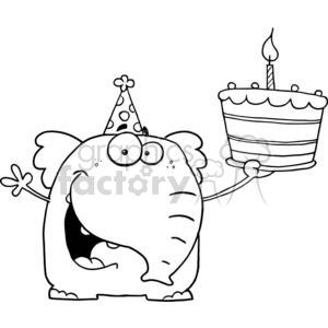 A Happy Baby Elephant Holds It's 1st Birthday Cake clipart. Royalty-free image # 377904