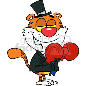 A Sly Business Tiger With Boxing Gloves clipart. Royalty-free image # 377909
