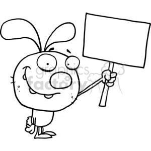 Black and White Rabbit Holds Blank Sign clipart. Commercial use image # 377919
