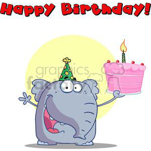 Blue elephant holding happy birthday cake with happy birthday in red clipart. Royalty-free image # 377934