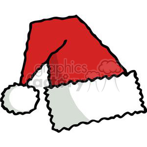 Simple red and white fuzzy santa hat clipart. Commercial use image # 377959