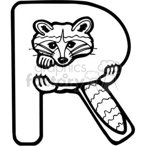 Letter R Raccoon clipart. Royalty-free image # 380206