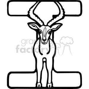 cartoon black white i ibex