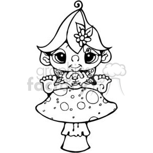 Bitty-Fairy-Baby-on-Mushroom clipart. Commercial use image # 380236