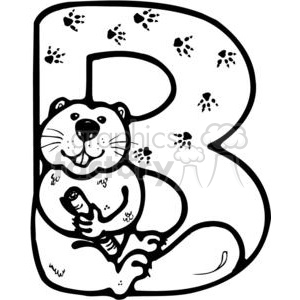 Letter B Beaver clipart. Commercial use image # 380246
