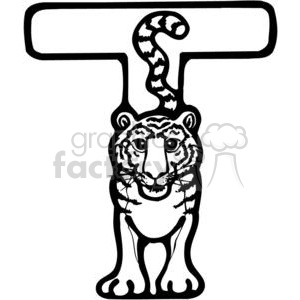 cartoon black white letter t tiger tigers animal