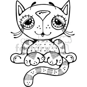 black and white cartoon cat clipart. Royalty-free image # 380261