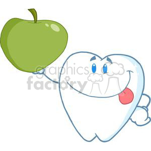 2982-Smiling-Tooth-Cartoon-Character-Holding-Up-A-Green-Apple clipart. Commercial use image # 380266