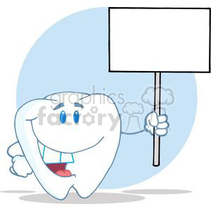 2963-Smiling-Tooth-Cartoon-Character-Holding-A-Blank-White-Sign clipart. Royalty-free image # 380281