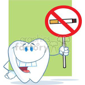 2928-Happy-Smiling-Tooth-Holding-Up-A-No-Smoking-Sign clipart. Commercial use image # 380286