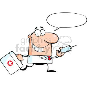2903-Doctor-Running-With-A-Syringe-And-Bag clipart. Royalty-free image # 380311