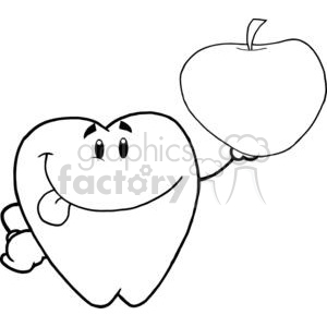 2943-Smiling-Tooth-Cartoon-Character-Holding-Up-A-Apple clipart. Commercial use image # 380321