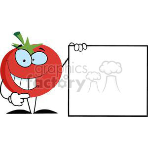 2887-Red-Tomato-Cartoon-Character-Presenting-A-Blank-Sign clipart. Commercial use image # 380326