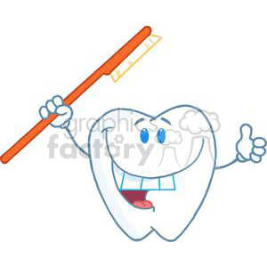 2933-Happy-Smiling-Tooth-With-Toothbrush clipart. Commercial use image # 380341