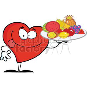 2910-Red-Heart-Holding-Up-A-Plate-Of-Fruits clipart. Royalty-free image # 380346