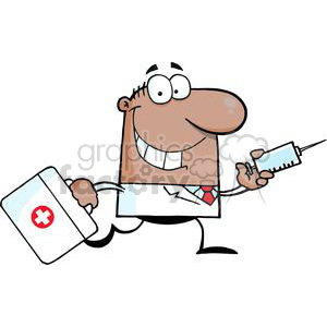 2906-African-American-Doctor-Running-With-A-Syringe-And-Bag clipart. Royalty-free image # 380356