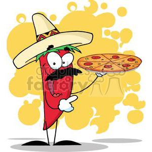 2891-Sombrero-Chile-Pepper-Holds-Up-Pizza clipart. Royalty-free image # 380361