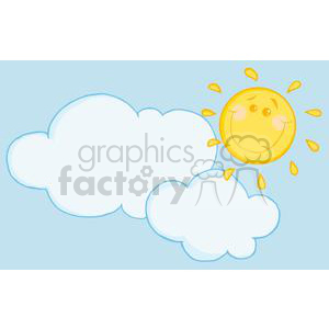 2733-Smiling-Sun-Behind-Cloud-Cartoon-Character clipart. Royalty-free image # 380366