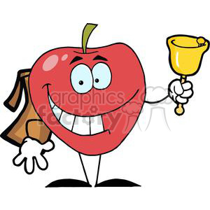 2852-Happy-Apple-Ringing-A-Bell-For-Back-To-School clipart. Royalty-free image # 380371