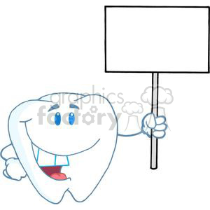 2962-Smiling-Tooth-Cartoon-Character-Holding-A-Blank-White-Sign