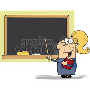 2991-School-Woman-Teacher-With-A-Pointer-Displayed-On-Chalk-Board clipart. Royalty-free image # 380396