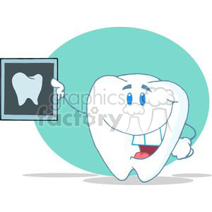 2960-Smiling-Tooth-Cartoon-Character-With-X-ray-Picture clipart. Royalty-free image # 380421
