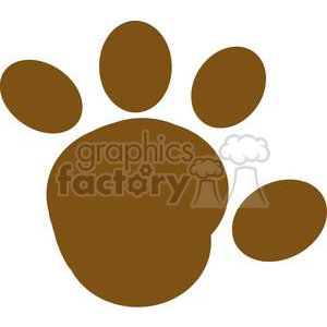 2778-Cartoon-Brown-Paw-Print-Silhouette clipart. Commercial use image # 380446