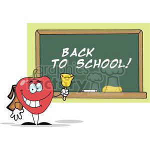 Apple ringing a bell chalkboard clipart. Royalty-free image # 380456