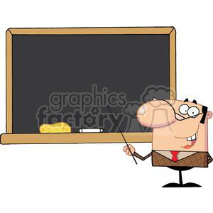2987-School-Teacher-With-A-Pointer-Displayed-On-Chalk-Board clipart. Commercial use image # 380466