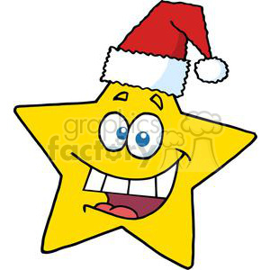 3014-Happy-Chrismas-Star-Smiling clipart. Commercial use image # 380496