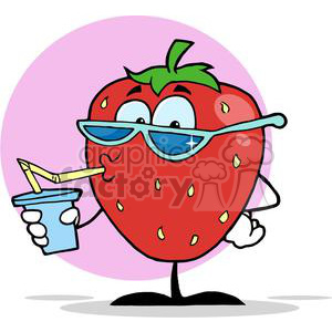 Cartoon strawberry drinking a drink with pink background
