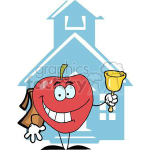 2854-Happy-Apple-Ringing-A-Bell-In-Front-A-School clipart. Commercial use image # 380511