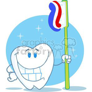 2925-Happy-Smiling-Tooth-With-Toothbrush clipart. Royalty-free image # 380516