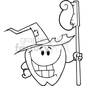 2952-Happy-Smiling-Halloween-Tooth-With-Toothbrush clipart. Royalty-free image # 380526