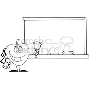 2875-Apple-Ringing-A-Bell-In-Front-A-School-Chalk-Board clipart. Royalty-free image # 380546
