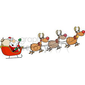 cartoon funny illustration Christmas santa sleigh eve sleigh reindeer