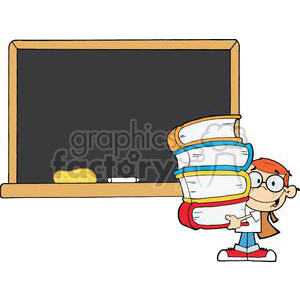 2996-Student-With-Books-In-Front-Of-School-Chalk-Board clipart. Commercial use image # 380561