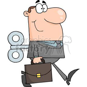 3246-Businessman-With-Wind-up-Key-In-His-Back clipart. Royalty-free image # 380570