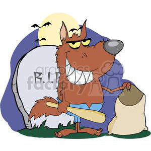 3219-Smiled-Werewolf-Holding-Club-And-Bag-A-Full-Moon clipart. Royalty-free image # 380580