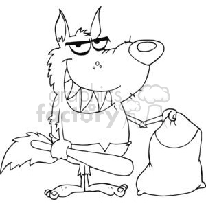 3217-Smiled-Werewolf-Holding-Club-And-Bag clipart. Commercial use image # 380585