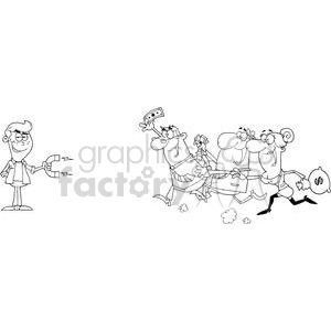 3184-Young-Businessman-Using-A-Magnet-Attracts-People-With-Money clipart. Royalty-free image # 380595